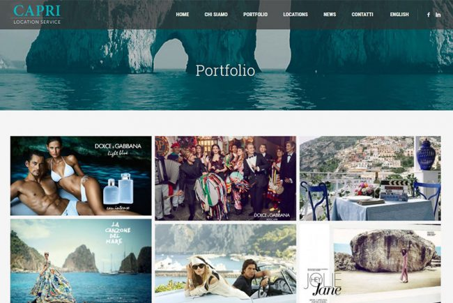 Homepage sito web Capri Location service