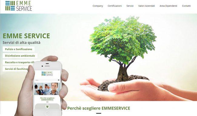 Screenshot del sito internet dell'azienda
